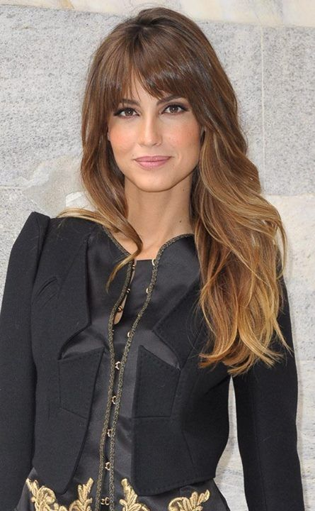 Long, brown to blonde ombre / dip dye hair with full fringe / bangs