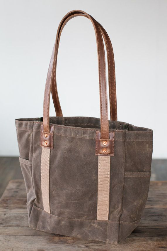 No. 115 Carry Tote in Dark Khaki Waxed Canvas & Horween Leather