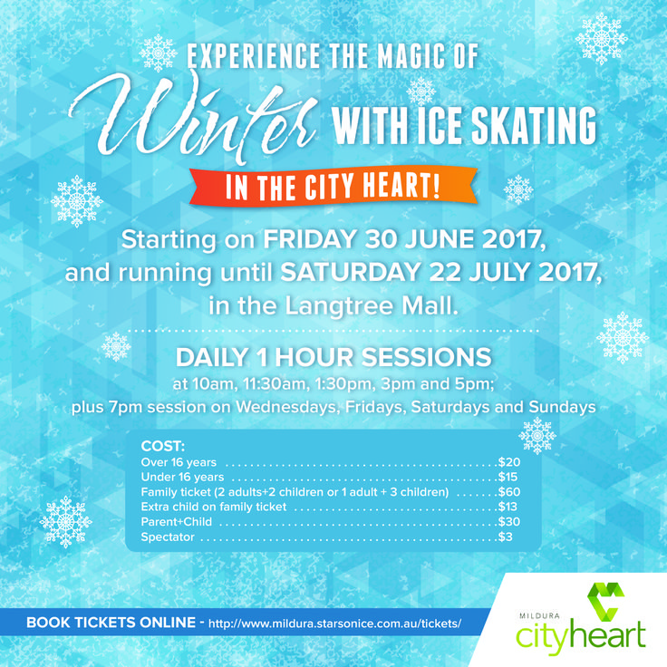 Yippee!! Ice Skating these school holidays in the Mildura City Heart!!! So exciting :)