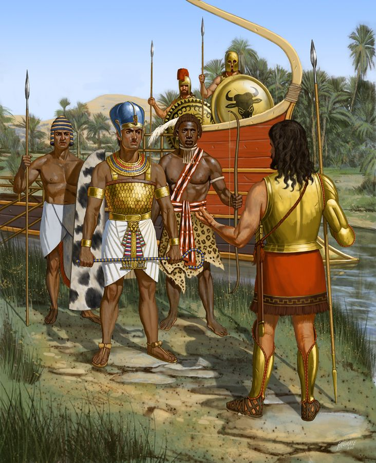 Psammetichus, Egyptian Pharaoh meeting with some Greek warriors