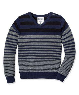 Navy Variegated Stripe Sweater - Infant, Toddler & Boys