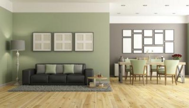 Green and brown room walls.