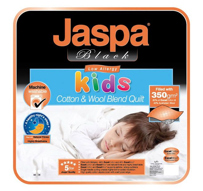 Kids Cotton and Wool Quilt JASPA BLACK  Features: 60% cotton and 40% Australian wool fill 350GSM fill Ultrafresh treated Japara cover Single needle quilting creates higher loft for added insulation Self piped edge Made from natural fibres High breathability Creating a healthy and great night's sleep Machine washable - #quilts