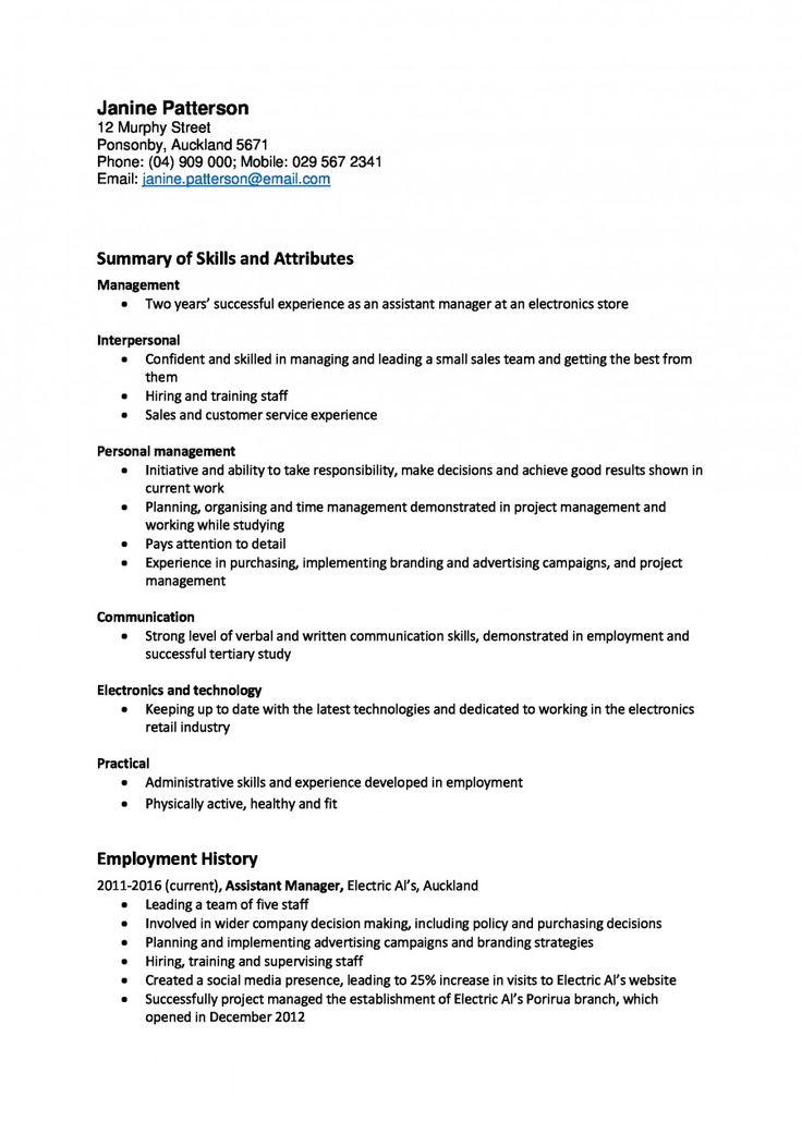 Example of a skillsfocused CV Resume writing samples
