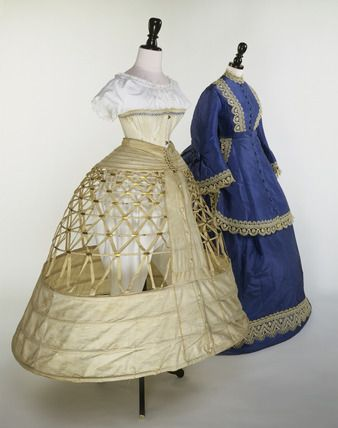 Wedding Ensemble: circa 1861-1870, watered silk trimmed with lace (dress), ribbed cotton, glaze finishedl with two thick whalebone busks (corset).