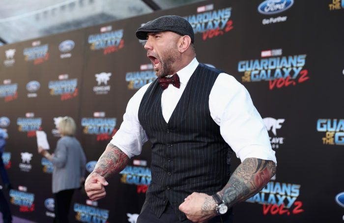 Dave Bautista aka Drax Walking the MARVEL Purple Carpet at the Guardians of the Galaxy Vol. 2 Premiere
