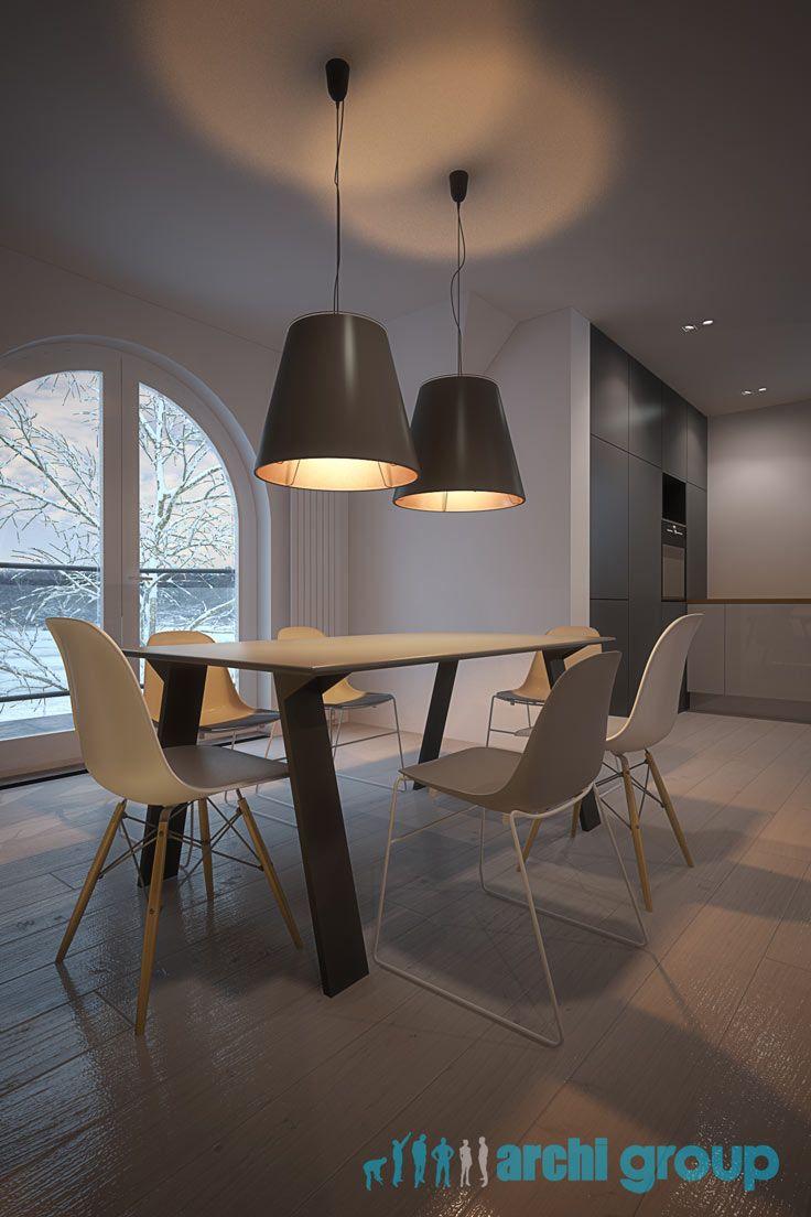 Dining room design in Piekary, POLAND - archi group. Jadalnia w domu jednorodzinnym w Piekarach Śląskich.