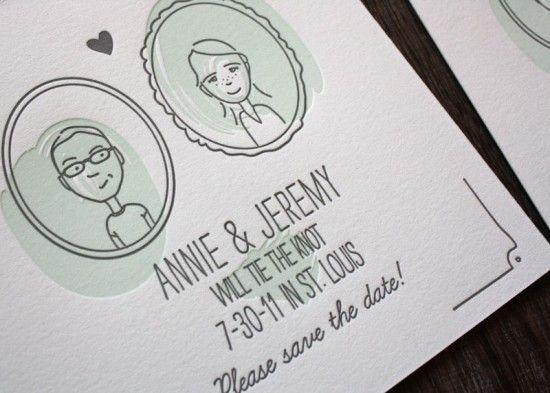 Annie + Jeremy's Illustrated Portrait Save the Dates | Printerette Press