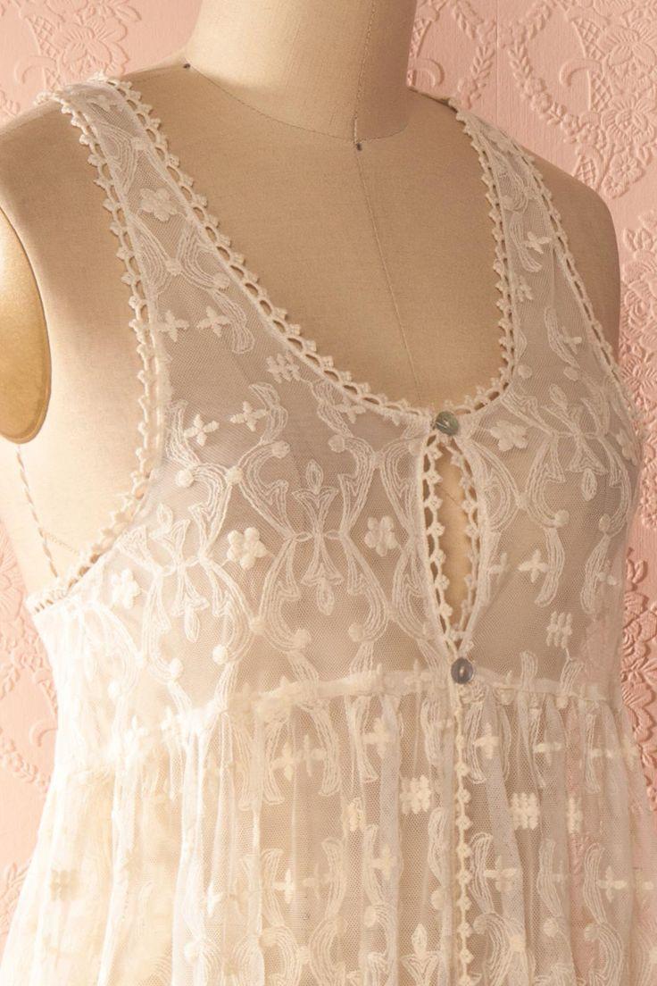 Florindy - Lace Cream Maxi Dress