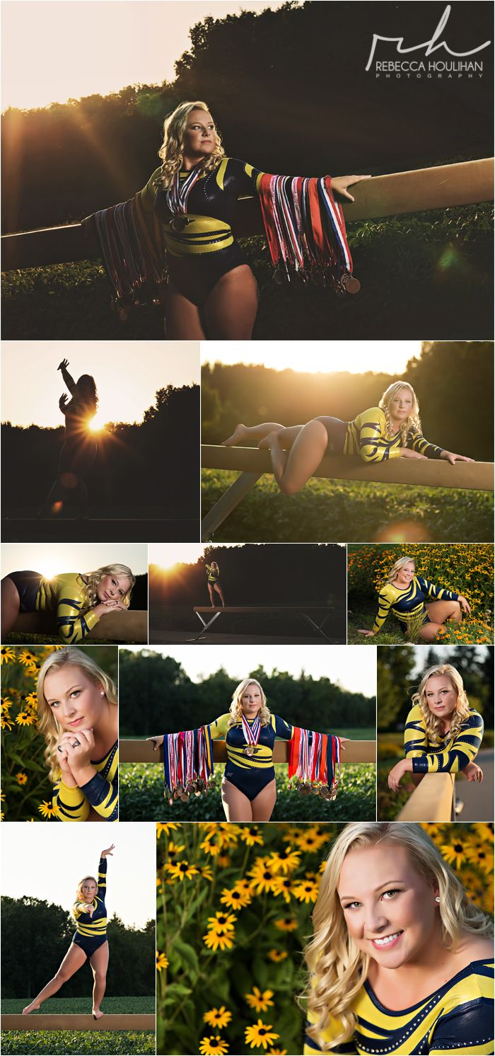 Gymnastics senior pictures outdoors in the park with a beam