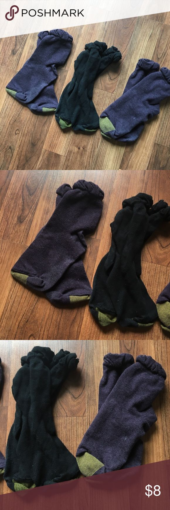 3 Pairs Gold Toe Socks w/ Ruffle 3 pairs gold toe socks, Women's size large, fits shoe size 9-11. Like new, hardly worn. Each pair has a cute ruffle at the top. 2 purple pairs, 1 black pair. Sold all together. Gold Toe Other