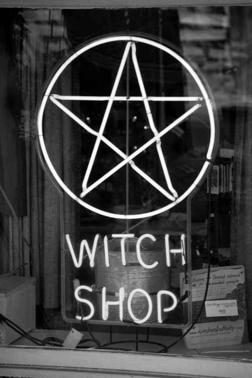 Witch Shop occult neon sign in the window of Gypsy Heaven in New Hope, PA  I just like this one.