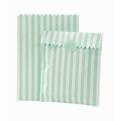 Mintgreen striped candy bags Mintgrønne stribede slikposer til slikbar