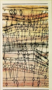 Paul Klee - Ripe Harvest, 1924  I'd love to do something like this on teastained muslin with machine stitching.