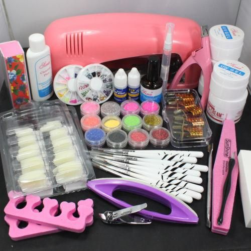 Nails Art Designs Pro Nail Art Uv Gel Kits Tools Pink Uv Lamp Brush Tips Glue Acrylic Powder Kit Airbrush Nail Art From Tsangchiho, $36.64| Dhgate.Com