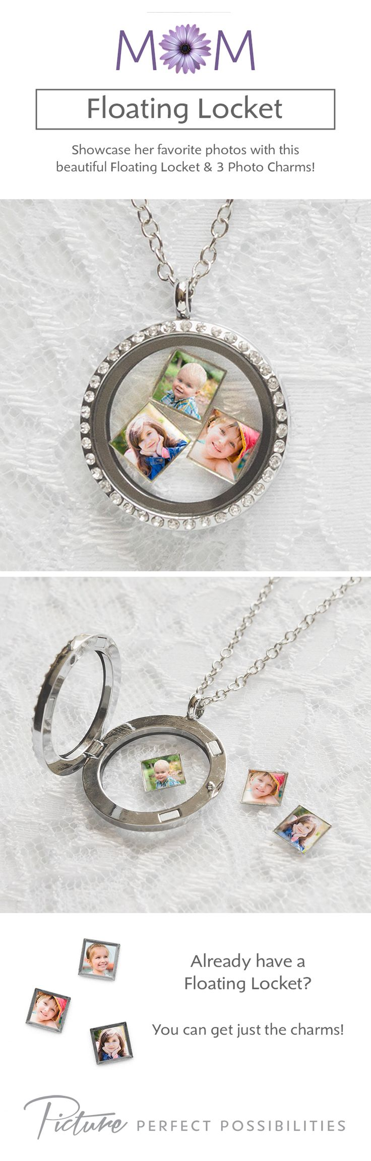 Customize a Floating Locket with her favorite photos. It comes with 3 tiny photo charms!