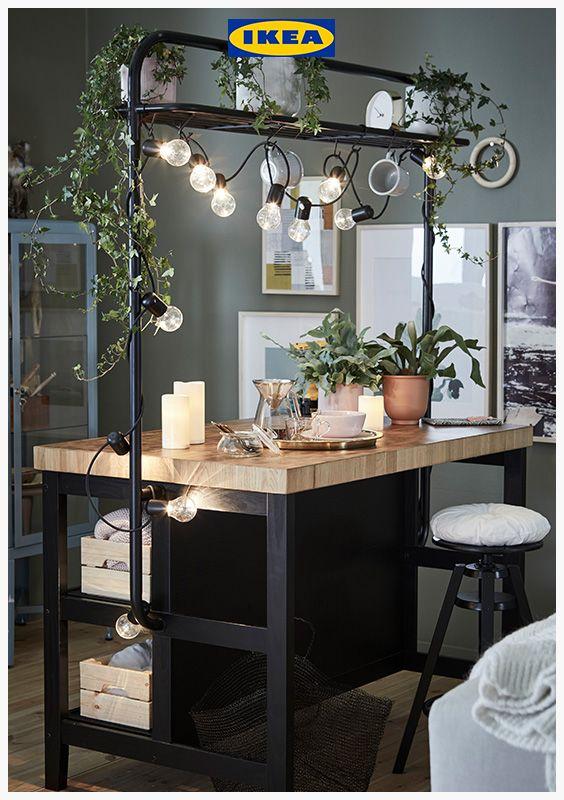vadholma kitchen island with rack black oak 126 x 79 x 193 cm in 2019 kitchens industrial on kitchen island ideas black id=88893