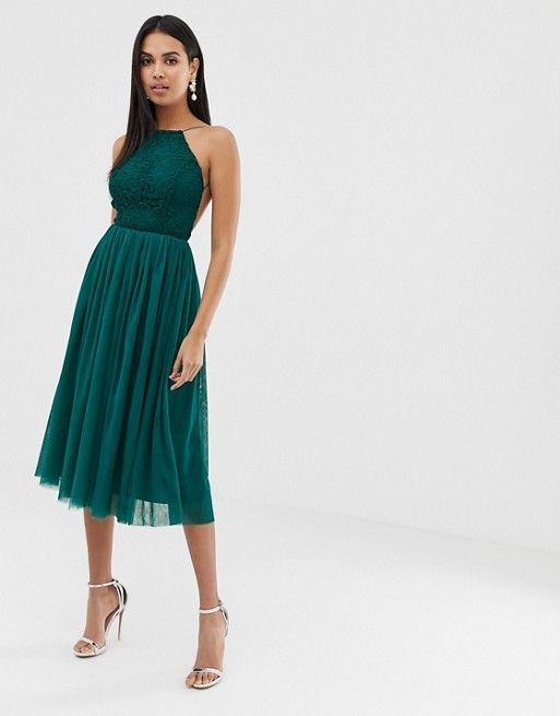 f1887d87be1b DESIGN lace top tulle midi dress in 2019 | Dresses | Dresses, Lace ...
