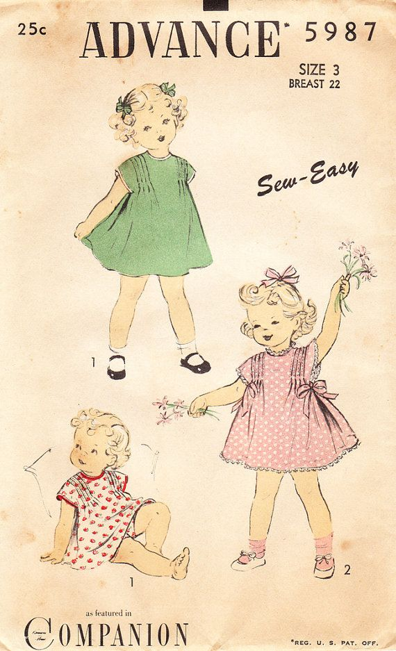 1940s Vintage ADVANCE Sewing Pattern No. 5987 For TODDLER