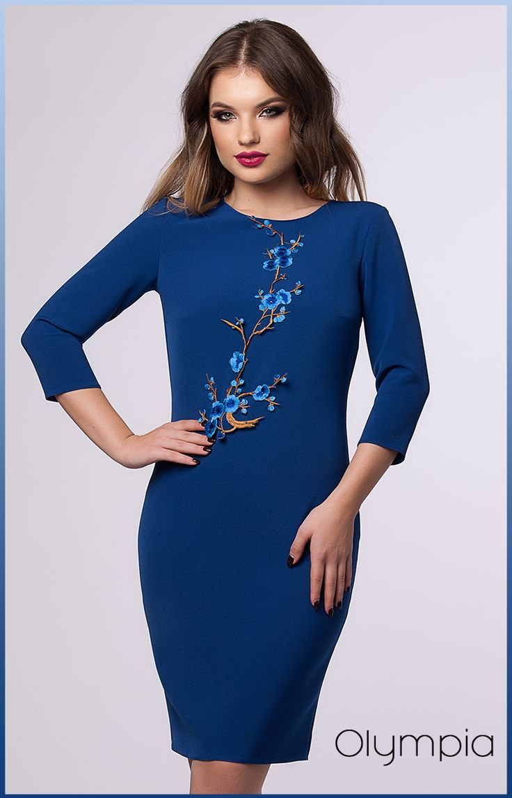 Gorgeous midi office dress perfect for fall: https://missgrey.org/en/dresses/midi-day-dress-in-blue-shades-with-floral-applications-olympia/608?utm_campaign=noiembrie&utm_medium=rochie_olympia_albastra&utm_source=pinterest_produs
