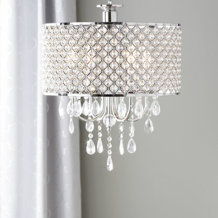 Aurore 4 Light Crystal Chandelier With Wrought Iron Accents