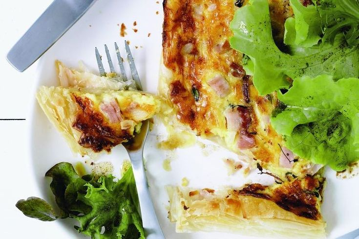 Rustic cheese, egg and bacon pie