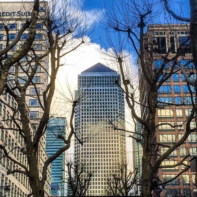 One Canada Square, a #skyscraper in Canary Wharf, #London, peeks through the trees.    Photo courtesy of brianthio on Instagram