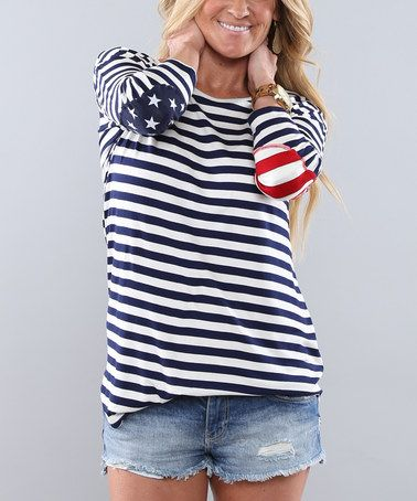 Cute elbow patches. Easy DIY. Sew with Threadhead TV. ~Look at this #zulilyfind! Navy & Ivory Stripe Flag Elbow-Patch Tunic #zulilyfinds