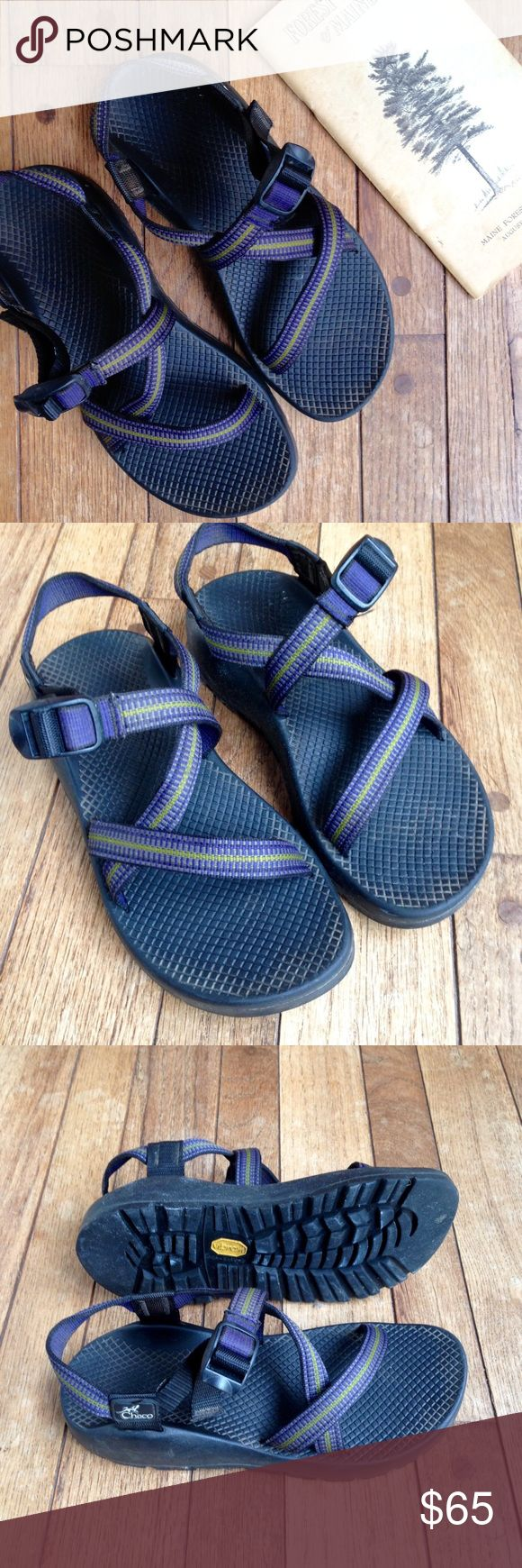 Lavender & citron Chacos sandals EUC. Black soles w/lavender and light green striped straps. Vibram soles are great for hiking. Slight wear on heels. Women's size 8. Chacos Shoes Sandals