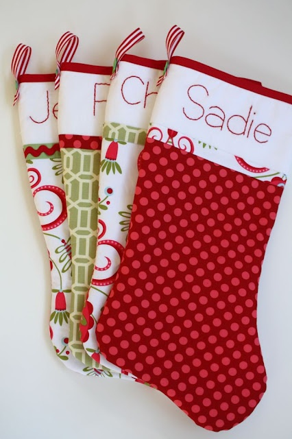 Christmas Stockings -- these look very nice and I like the layout of the fabric on each of these for the personalized names.