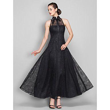 A-line High Neck Ankle-length Lace Evening Dress (699490)  – USD $ 99.99