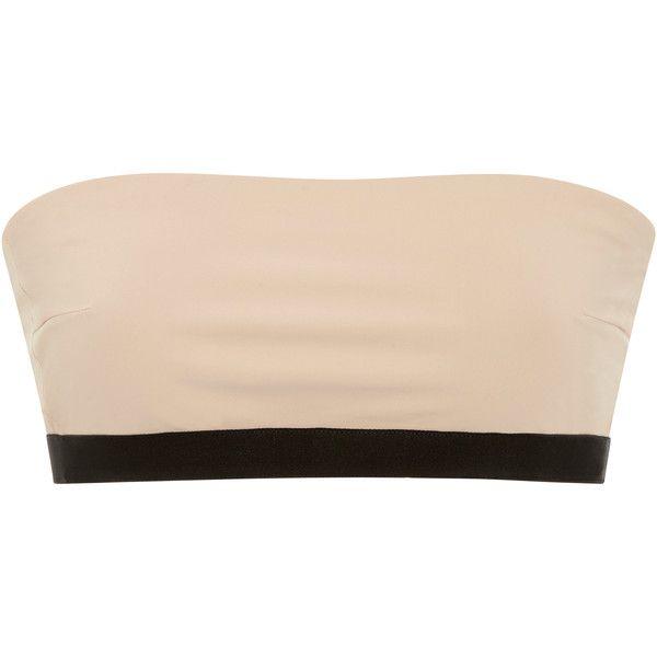 Jean Yu     Multi Strap Bandeau Bikini Top ($255) ❤ liked on Polyvore featuring swimwear, bikinis, bikini tops, neutral, chlorine resistant swimwear, bandeau tops, uv protection swimwear, bandeau top bikini and jean yu