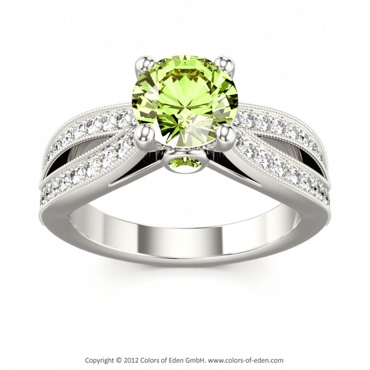 Peridot Engagement Ring in White Gold #peridot #engagement #ring
