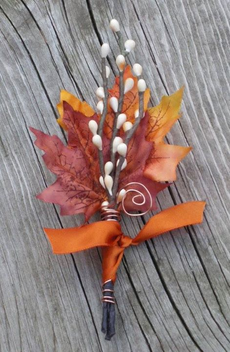 A stylish and colorful Fall Wedding Boutonniere. #mymaderaestates #groom #boutonniere
