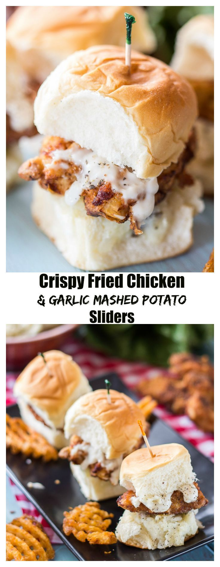 These Fried Chicken Sliders are the perfect summer party food. Garlicy mashed potatoes, crispy fried chicken, and creamy pepper gravy are piled high atop a toasted King's Hawaiian Slider Bun.