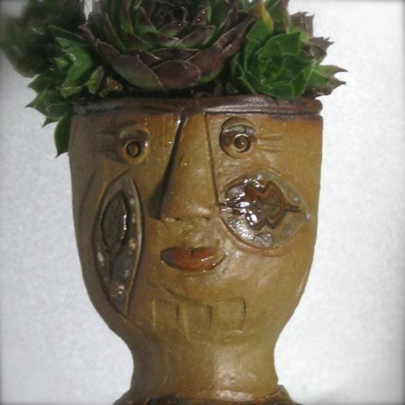 Ceramic Face Pot Head Planter with leaves by dianehawkey on Etsy, $35.00