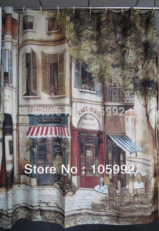 PARIS nostalgia corner coffee house polyester printed waterproof shower curtain buckle leaded line 183*183cm #Affiliate
