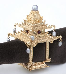 L'Objet decorative accessories tableware pagoda gold freshwater pearls yellow crystals napkin ring harlequin london