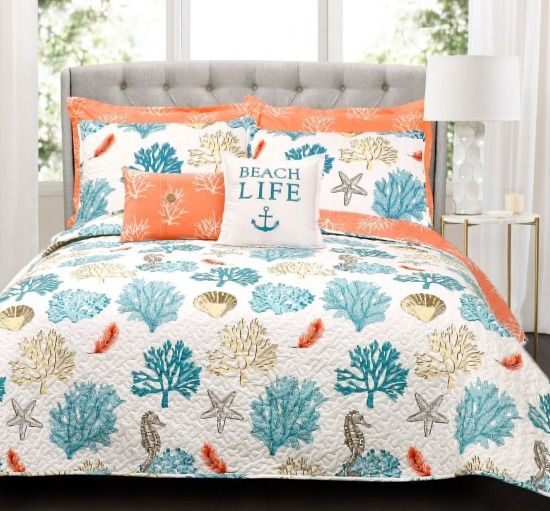 Beach Life Coral Quilt Bedding Set Beach Themed Bedroom Coastal Bedrooms Bedroom Themes