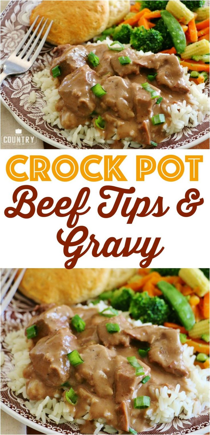 Crock Pot Beef Tips and Gravy recipe from The Country Cook