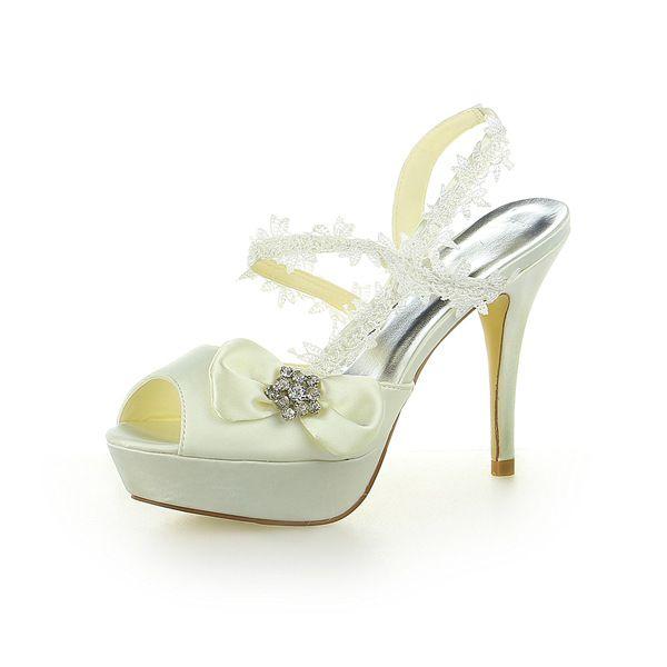 Prinsesse Beige Brude Sko Satin Stiletter Slingbacks Sandaler Med Blonder Og Rhinestone Bow
