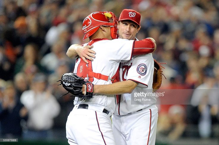 WIlson Ramos, Max Scherzer, WSH, celebrate Scherzer's 20 SOs, tying an MLB record, v DET//May 11, 2016