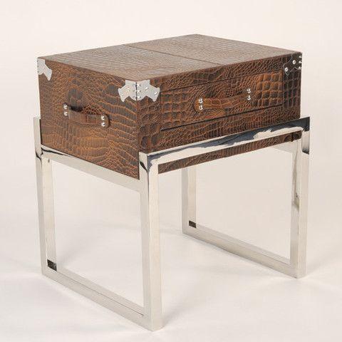 Brown Leather & Chrome Trunk Bedside Table - 9 Best Mock Croc Images On Pinterest Bedside Tables, Crocodile