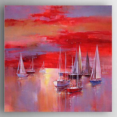 peinture à l'huile bateau rouge main toile peinte avec étiré encadrée prêt à accrocher de 4816019 2016 à €82.31