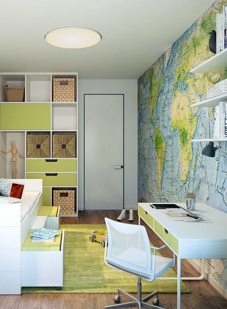 Gestaltungsidee #Kinderzimmer #Jungen #Weltkarte #Fototapete ...