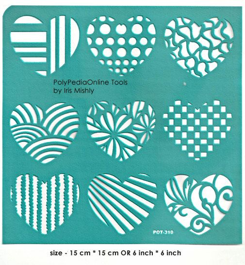 Stencil Stencils Pattern Template, Reusable, Adhesive, Flexible, for polymer clay, fabric, wood, glass, cards | HEARTS | 6 inch/15 cm