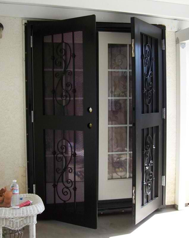 Security doors for french and sliding doors completed for Security screen doors for french doors