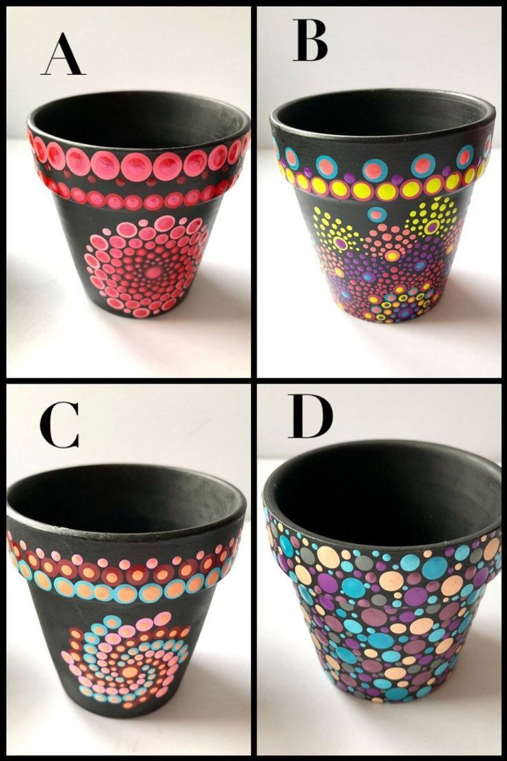 Funky bold unique painted indoor flower pots in 2020