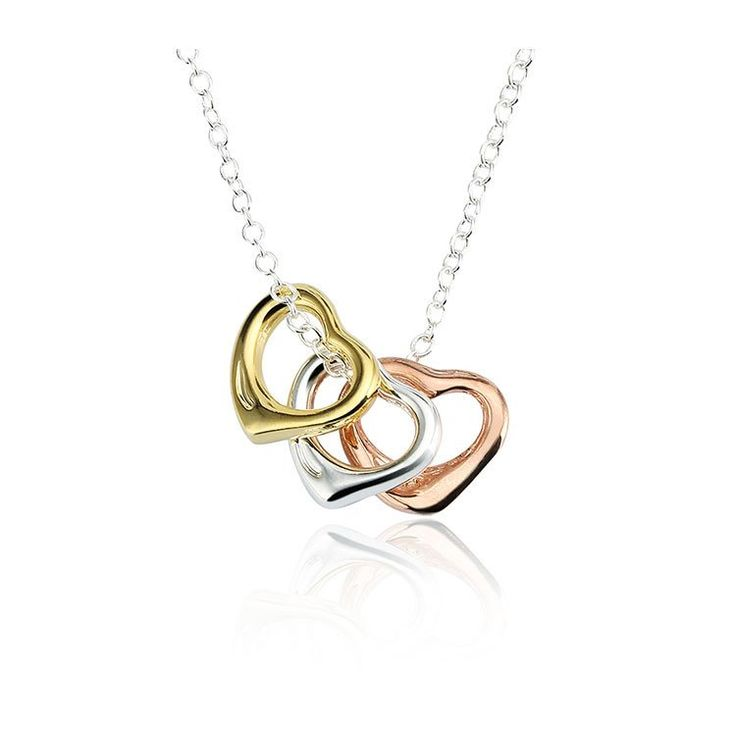 Sterling Silver Necklace with  Triple Heart Pendant