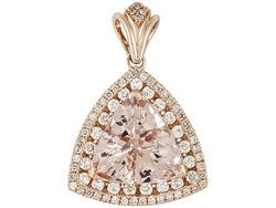6.52ct Trillion Cor-de-rosa Morganite(Tm) With .82ctw Round White Diamonds 14k Rose Gold Pendant